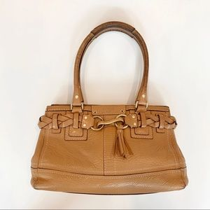 Coach Beige Leather Hampton Braided Purse